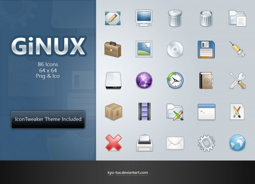 GiNUX by kyo tux1 500x361 50 Pixel Perfect Icons Sets for Your Collection!