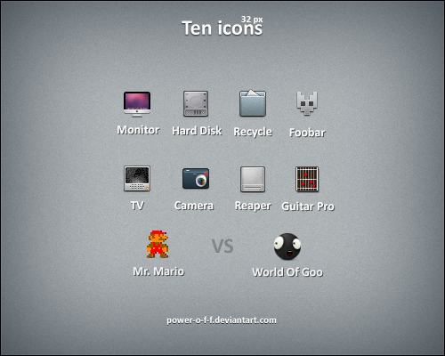 Ten Icons by Power O F F11 50 Pixel Perfect Icons Sets for Your Collection!
