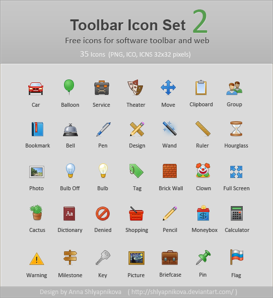 Toolbar Icon Set 2 by shlyapnikova1 50 Pixel Perfect Icons Sets for Your Collection!