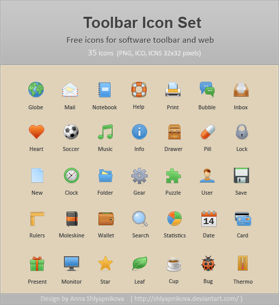 Toolbar Icon Set by shlyapnikova1 50 Pixel Perfect Icons Sets for Your Collection!
