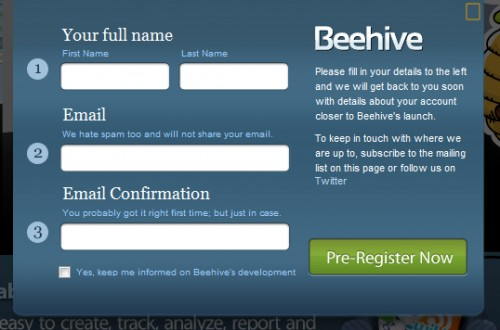 beehiveapp 500x330 45 Eye Catching Login/SignUp Forms