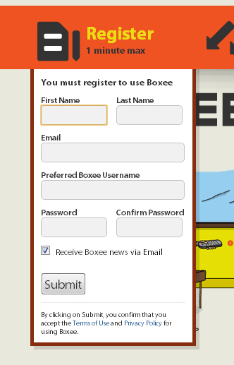 boxee 45 Eye Catching Login/SignUp Forms