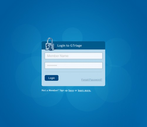 gtriage 500x433 45 Eye Catching Login/SignUp Forms