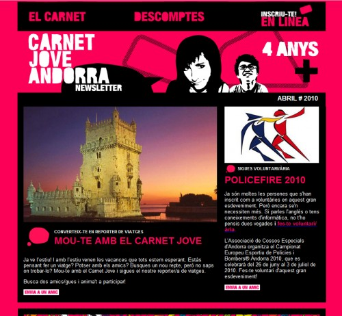 Andorra Youth Card Association 500x462 45 Eye Opening Examples of Email Newsletter Designs