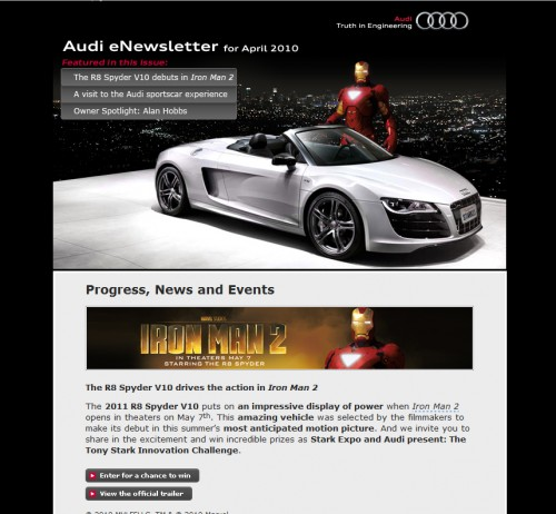 Audi 500x462 45 Eye Opening Examples of Email Newsletter Designs
