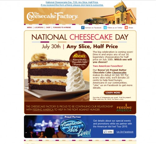 Cheese Cake Factory 500x462 45 Eye Opening Examples of Email Newsletter Designs