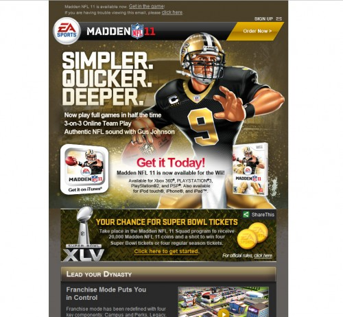 EA Sports 500x462 45 Eye Opening Examples of Email Newsletter Designs