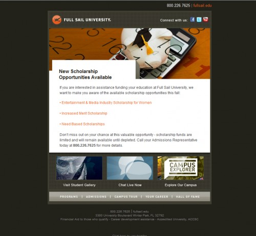 Full Sail University 500x462 45 Eye Opening Examples of Email Newsletter Designs