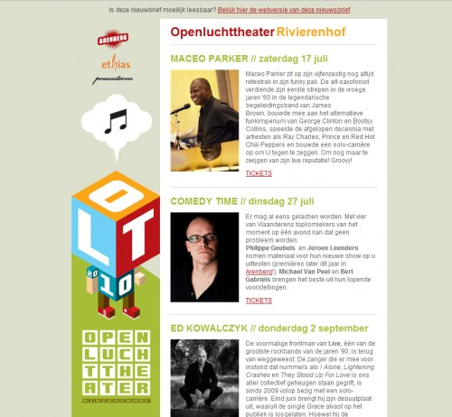 Openluchttheater 500x462 45 Eye Opening Examples of Email Newsletter Designs