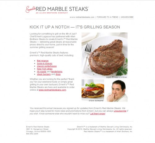 Red Marble Steaks 500x462 45 Eye Opening Examples of Email Newsletter Designs