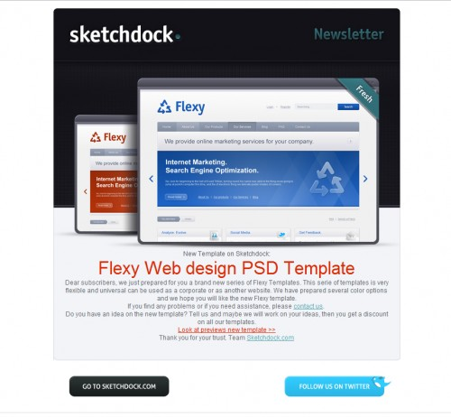 Sketchdock 500x462 45 Eye Opening Examples of Email Newsletter Designs