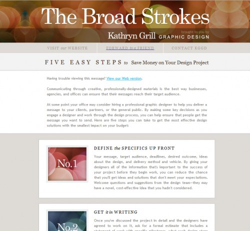 The Broad Strokes 500x462 45 Eye Opening Examples of Email Newsletter Designs