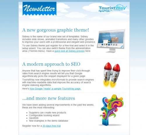 Tourist Way 500x462 45 Eye Opening Examples of Email Newsletter Designs