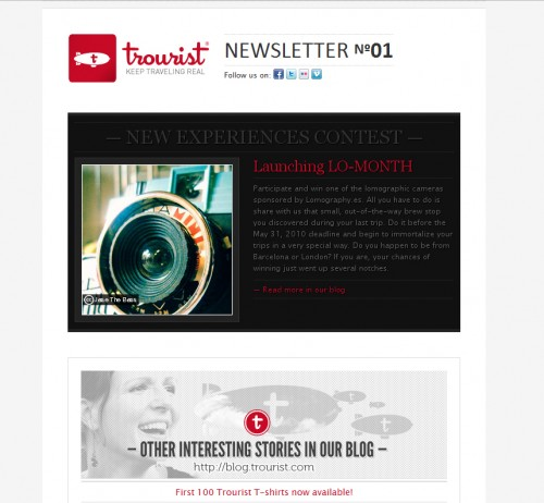 Trourist 500x462 45 Eye Opening Examples of Email Newsletter Designs