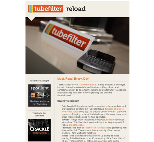 Tubefilter 500x462 45 Eye Opening Examples of Email Newsletter Designs