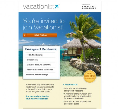 Vacationist 500x462 45 Eye Opening Examples of Email Newsletter Designs