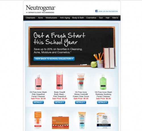neutrogena 500x462 45 Eye Opening Examples of Email Newsletter Designs