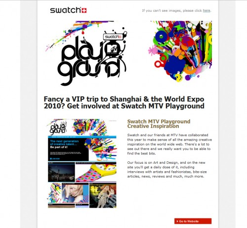 swatch 500x462 45 Eye Opening Examples of Email Newsletter Designs