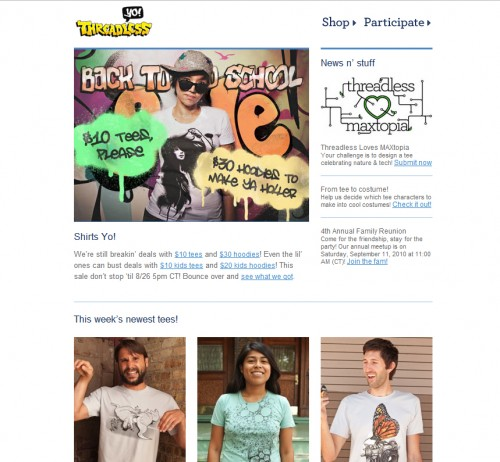 threadless 500x462 45 Eye Opening Examples of Email Newsletter Designs