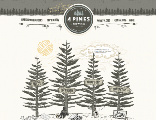 4pinesbeer 500x386 31 Creative Beer Based Websites