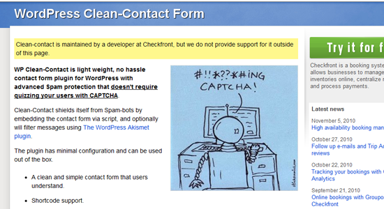 WordPress Clean Contact Form Top 10 WordPress Contact Form Plugins