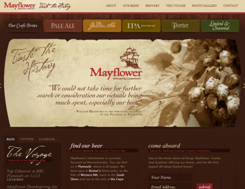 mayflowerbrewing 500x386 31 Creative Beer Based Websites