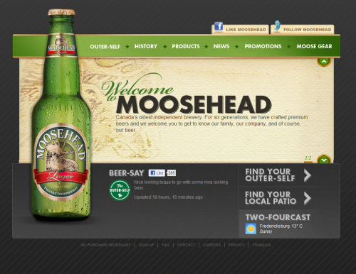 moosehead 500x386 31 Creative Beer Based Websites
