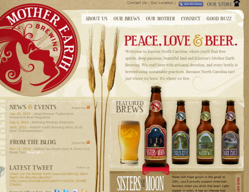motherearthbrewing 500x386 31 Creative Beer Based Websites