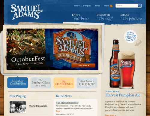 samueladams 500x386 31 Creative Beer Based Websites