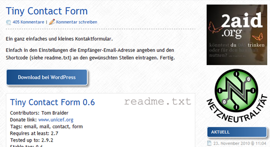 tiny contact form1 Top 10 WordPress Contact Form Plugins