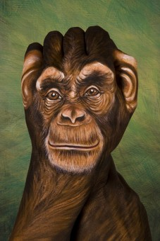 Chimpanzee1 227x3401 30 Incredible Hand Paintings by Guido Daniele