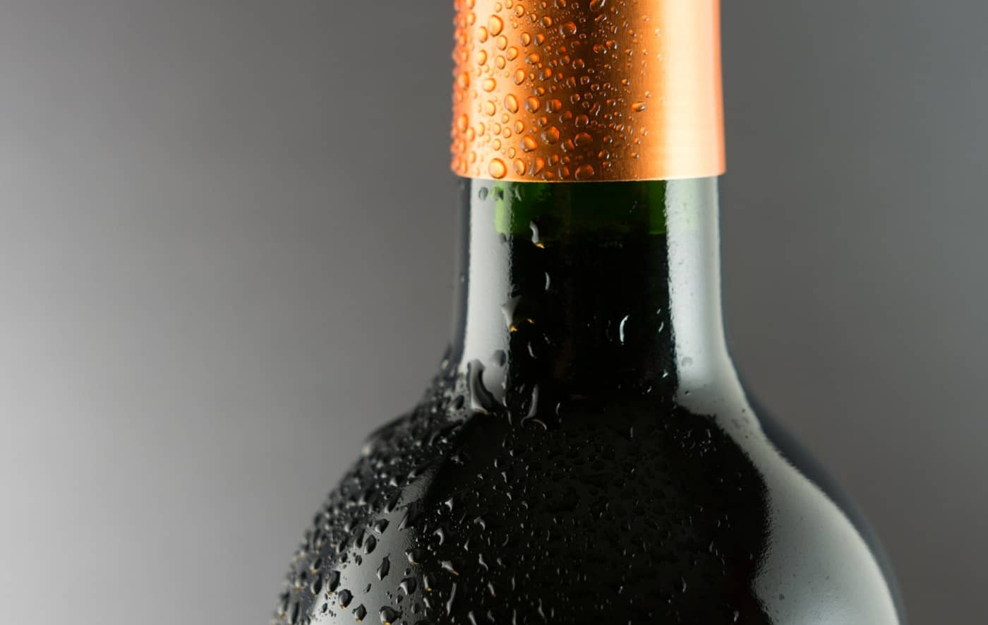 Dew on a wine bottle