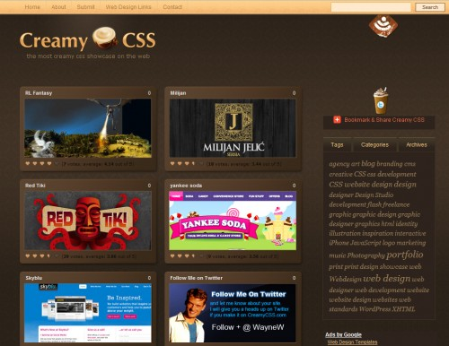 creamycss 500x386 Top 35 CSS Galleries For Web Design Inspiration