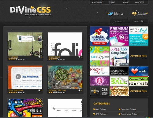 divinecss 500x386 Top 35 CSS Galleries For Web Design Inspiration