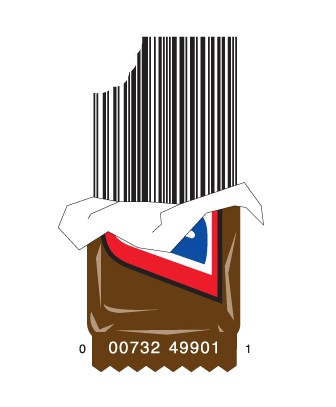 full candybar1 e1293733410946 30 Simple Yet Creative Bar Code Designs