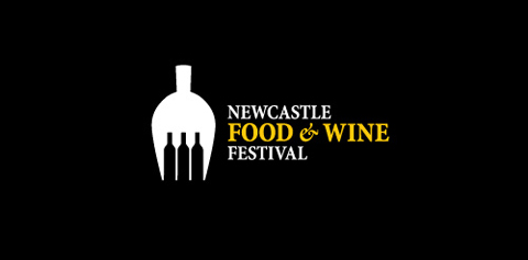 newcastle foodwine1 40 Amazing Wine Based Logo Designs