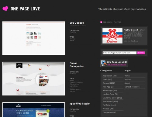 onepagelove 500x386 Top 35 CSS Galleries For Web Design Inspiration