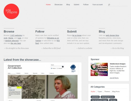 siteinspire 500x386 Top 35 CSS Galleries For Web Design Inspiration