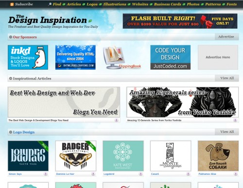 thedesigninspiration 500x386 Top 35 CSS Galleries For Web Design Inspiration
