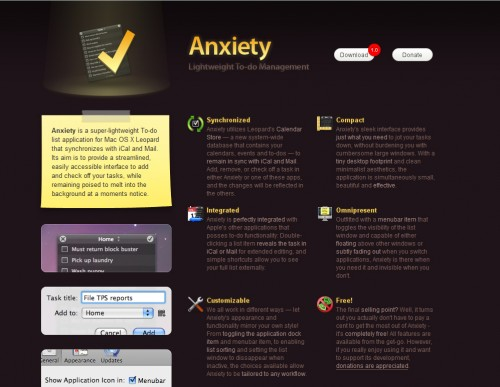 Anxiety 500x387 35 Beautiful Mac App Web Designs