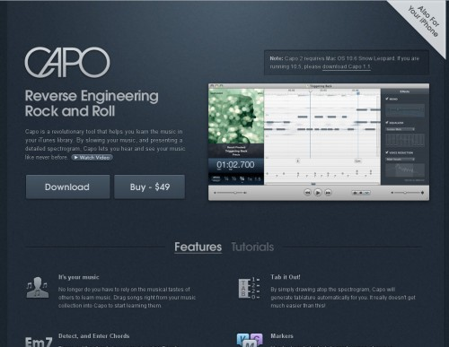 Capo 500x387 35 Beautiful Mac App Web Designs