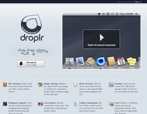 Droplr 500x387 35 Beautiful Mac App Web Designs