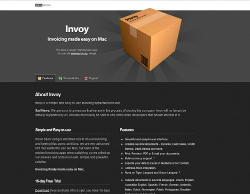 Invoy 500x387 35 Beautiful Mac App Web Designs