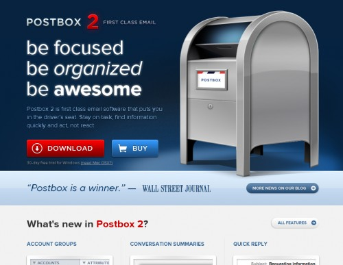 Postbox 500x387 35 Beautiful Mac App Web Designs