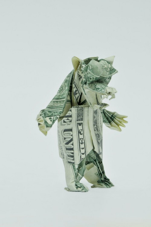 Two Dollar Angry Bear by orudorumagi111 500x752 20 Examples of Origami Paper Folding by Won Park