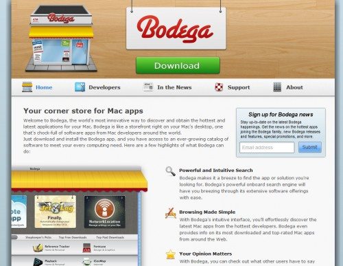 appbodega 500x387 35 Beautiful Mac App Web Designs