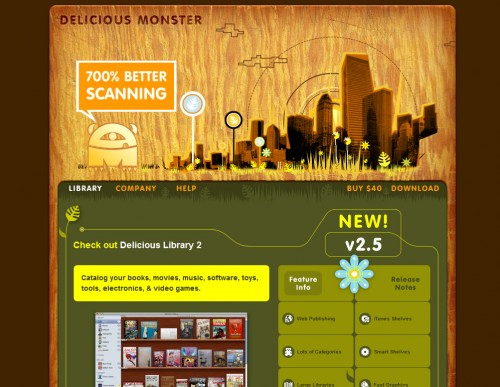 delicious monster 500x387 35 Beautiful Mac App Web Designs