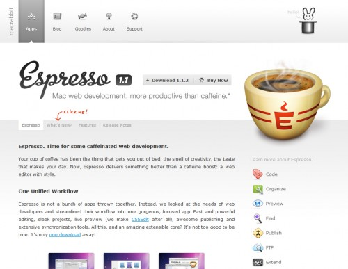 espresso 500x387 35 Beautiful Mac App Web Designs