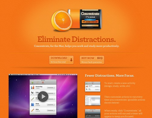 getconcentrating 500x387 35 Beautiful Mac App Web Designs
