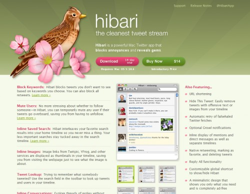 hibariapp 500x387 35 Beautiful Mac App Web Designs